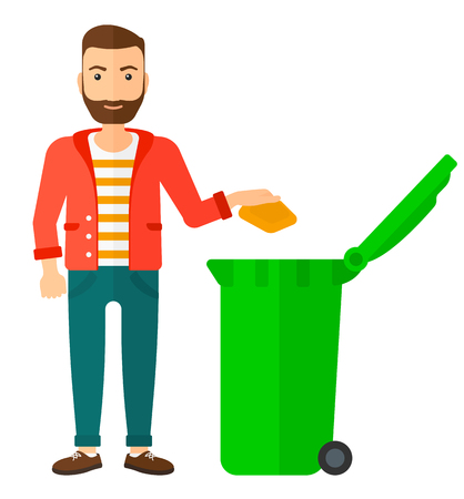 wastebasket: A hipster man with the beard throwing a trash into a green bin vector flat design illustration isolated on white background. Square layout. Illustration