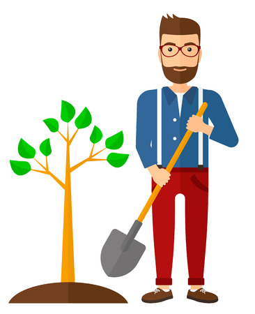 A hipster man with the beard plants a tree vector flat design illustration isolated on white background. Vertical layout.
