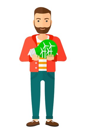 A hipster man with the beard holding in hands a big light bulb with small wind turbines inside vector flat design illustration isolated on white background. Vertical layout.