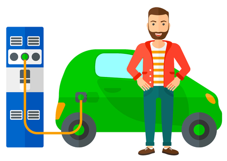 plugging: A hipster man with the beard charging his electric car vector flat design illustration isolated on white background. Horizontal layout.
