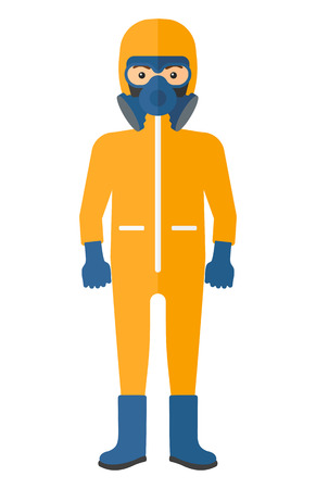 the atmosphere: Man wearing a protective chemical suit for toxic atmosphere vector flat design illustration isolated on white background. Vertical layout.