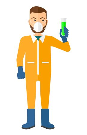 chemical hazard: A laboratory assistant in protective chemical suit holding a test-tube in hand vector flat design illustration isolated on white background. Vertical layout.
