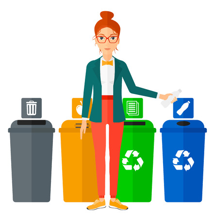 appropriate: Young woman standing near four bins and throwing a plastic bottle in an appropriate bin vector flat design illustration isolated on white background. Square layout.