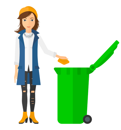 throwing: A woman throwing a trash into a green bin vector flat design illustration isolated on white background. Square layout.