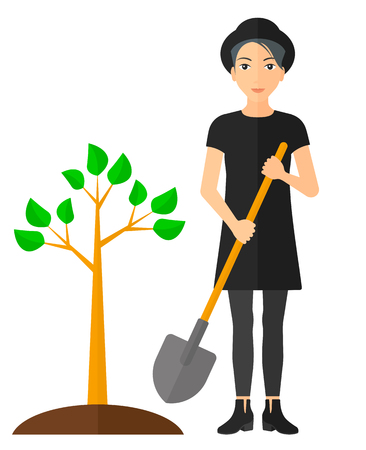 A woman with the shovel plants a tree vector flat design illustration isolated on white background. Vertical layout.