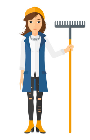 A woman standing with a rake vector flat design illustration isolated on white background. Vertical layout.