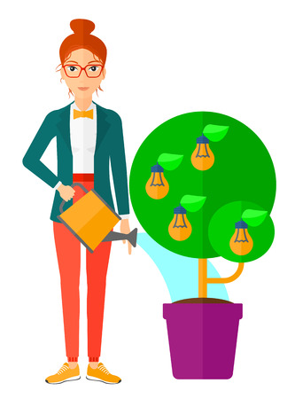 caucasians: Young woman watering a tree growing in pot with light bulbs instead flowers vector flat design illustration isolated on white background. Vertical layout. Illustration