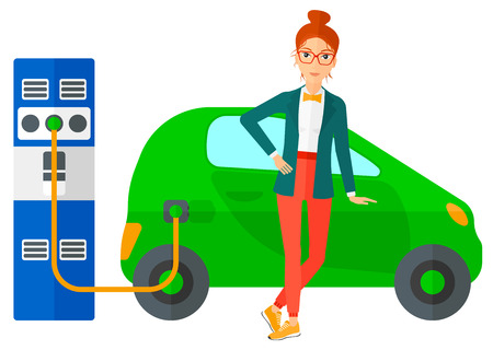 plugging: A woman charging her electric car vector flat design illustration isolated on white background. Horizontal layout. Illustration