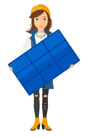 obrero caricatura: Mujer que sostiene un panel solar en las manos de vector dise�o plano aislado en el fondo blanco. disposici�n vertical. Vectores