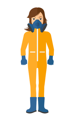 Woman wearing a protective chemical suit for toxic atmosphere vector flat design illustration isolated on white background. Vertical layout.