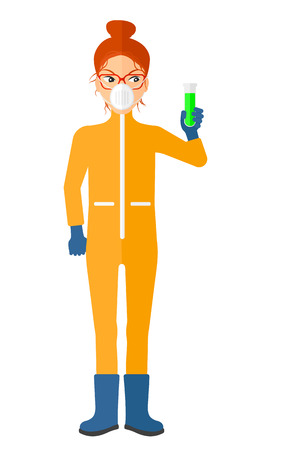 Un ayudante de laboratorio en juego químico protector que sostiene un tubo de ensayo en la mano ilustración vectorial diseño plano aislado en el fondo blanco. Diseño vertical. Ilustración de vector