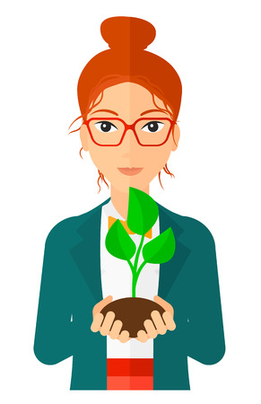 hands holding plant: Young woman holding in hands a small plant in soil vector flat design illustration isolated on white background. Vertical layout.