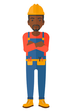 constructor: Confident african-american constructor standing with arms crossed vector flat design illustration isolated on white background.