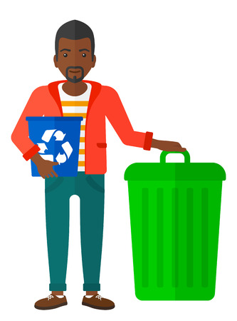 wastebasket: An african-american man standing with a recycle bin in hand and another bin on the ground vector flat design illustration isolated on white background. Illustration