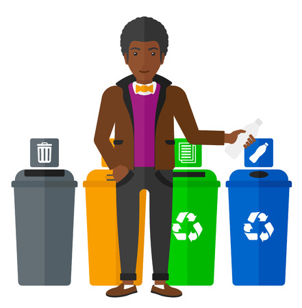 appropriate: Young african-american man standing near four bins and throwing a plastic bottle in an appropriate bin vector flat design illustration isolated on white background. Illustration