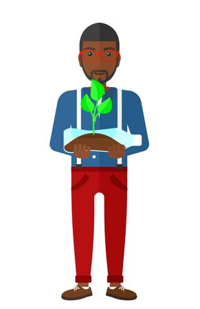small plant: An african-american man holding in hands a plastic bottle with a small plant growing inside vector flat design illustration isolated on white background.