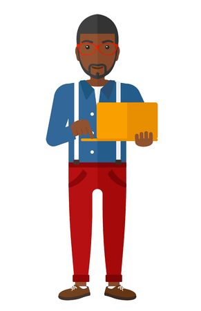ecologically: An african-american man holding a laptop in hands vector flat design illustration isolated on white background.