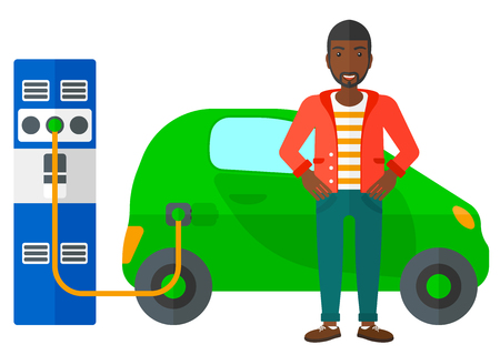 plugging: An african-american man charging his electric car vector flat design illustration isolated on white background.