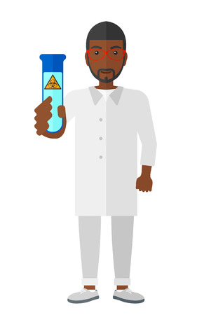 dangerous man: A laboratory assistant holding a test tube with biohazard sign on it vector flat design illustration isolated on white background.