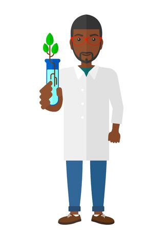 growing plant: A laboratory assistant holding a test tube with growing plant in it vector flat design illustration isolated on white background. Illustration