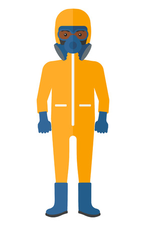 radiation suit: An african-american man wearing a protective chemical suit for toxic atmosphere vector flat design illustration isolated on white background. Illustration