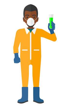 A laboratory assistant in protective chemical suit holding a test-tube in hand vector flat design illustration isolated on white background.