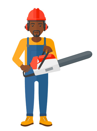 A lumberjack holding a chainsaw vector flat design illustration isolated on white background.