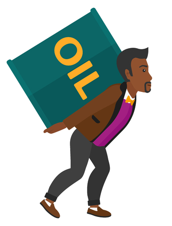 man carrying: An african-american man carrying an oil can on his back vector flat design illustration isolated on white background.