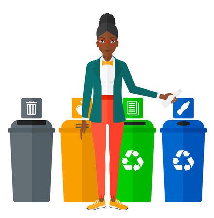appropriate: An african-american woman standing near four bins and throwing a plastic bottle in an appropriate bin vector flat design illustration isolated on white background.