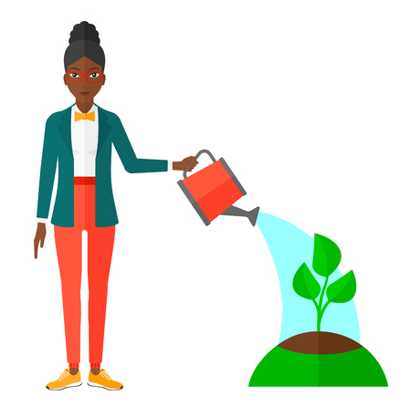 An african-american woman watering a tree vector flat design illustration isolated on white background. Illustration