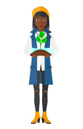 small plant: An african-american woman holding in hands a plastic bottle with a small plant growing inside vector flat design illustration isolated on white background.