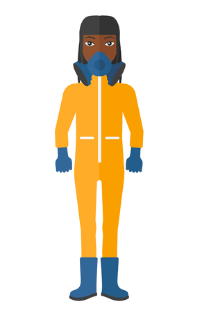 radiation suit: An african-american woman wearing a protective chemical suit for toxic atmosphere vector flat design illustration isolated on white background.