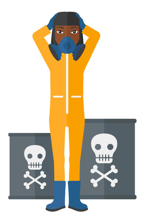 radiation suit: An african-american woman in protective chemical suit clutching her head while standing near barrels with toxic signs vector flat design illustration isolated on white background.