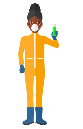toxins: A laboratory assistant in protective chemical suit holding a test-tube in hand vector flat design illustration isolated on white background.
