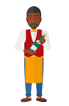 viticulture: A waiter holding a bottle of wine vector flat design illustration isolated on white background.