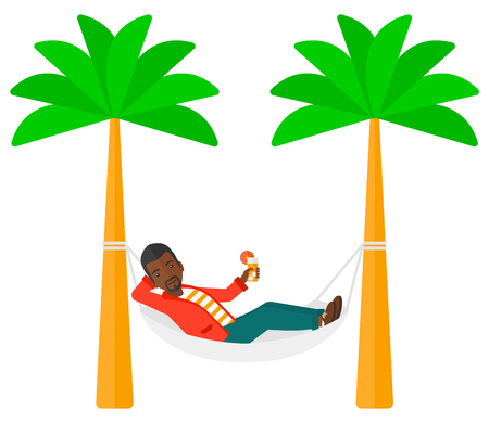 chilling: An african-american man chilling in hammock with a cocktail in a hand vector flat design illustration isolated on white background.