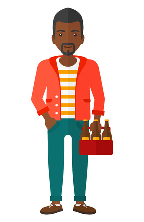 An african-american man holding a pack of beer in hands vector flat design illustration isolated on white background.