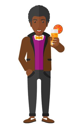 An african-american man holding a glass of juice vector flat design illustration isolated on white background. Stok Fotoğraf - 50710433