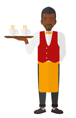 hospitality staff: A charming waiter holding a tray with cups of tea or coffee vector flat design illustration isolated on white background. Illustration
