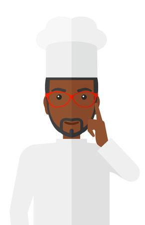 forefinger: A cheerful chief-cooker in uniform pointing forefinger up vector flat design illustration isolated on white background.
