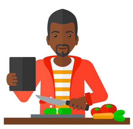 prepare: An african-american man holding a digital tablet and cutting vegetables on cutting board vector flat design illustration isolated on white background.