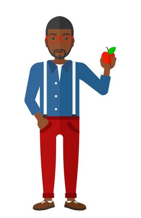 Een Afro-Amerikaanse man met een appel vector platte ontwerp illustratie op een witte achtergrond. Stock Illustratie