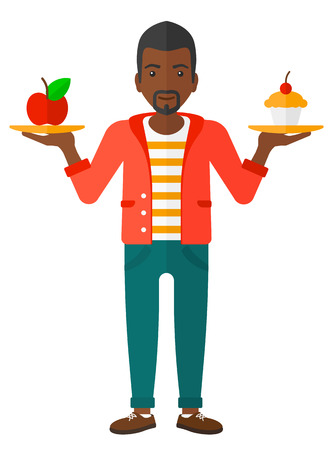 An african-american man with apple and cake in hands symbolizing choice between healthy and unhealthy food vector flat design illustration isolated on white background.
