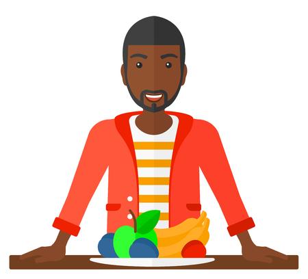 Een Afro-Amerikaanse man staat voor tafel hoogtepunt van organische gezond voedsel vector platte ontwerp illustratie op een witte achtergrond. Stock Illustratie