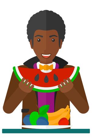 Een Afrikaans-Amerikaanse mens die watermeloen eet terwijl status voor lijsthoogtepunt van de organische illustratie van het gezonde voedsel vector vlakke ontwerp die op witte achtergrond wordt geïsoleerd.