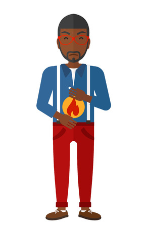 fire in the belly: An african-american man suffering from heartburn vector flat design illustration isolated on white background.