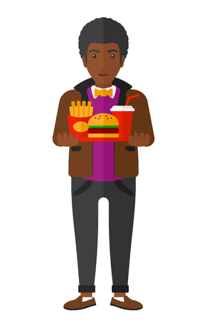 french ethnicity: An african-american man holding a tray full of junk food vector flat design illustration isolated on white background. Illustration
