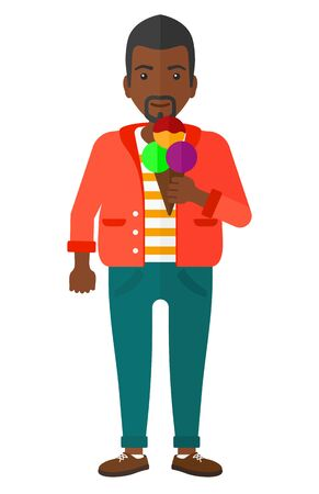cornet: A fat african-american man holding a big icecream in hand vector flat design illustration isolated on white background.