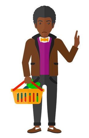 refusing: An african-american man holding a supermarket basket full of healthy food and refusing junk food vector flat design illustration isolated on white background. Illustration