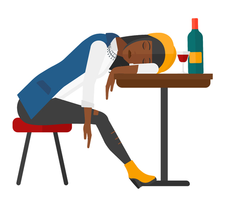 A woman sleeping at the table with a glass and a bottle on it vector flat design illustration isolated on white background.
